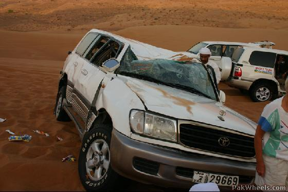 land cruiser roll over in desert
