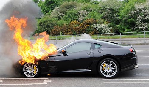 ferrari on fire